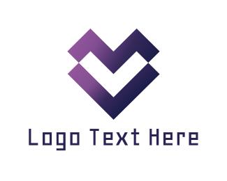 Romantic - Digital Heart logo design