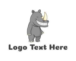 Happy - Happy Rhino logo design