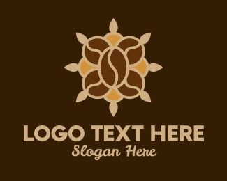 Instant Coffee - Coffee Bean Flower  logo design