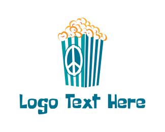 Hippie - Groovy Popcorn  logo design