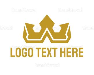 Monarchy - Gold Polygon Royalty logo design