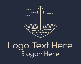 Monoline Anchor Surfboard Logo Maker