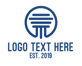 Architecture - Blue Pillar Badge Outline logo design