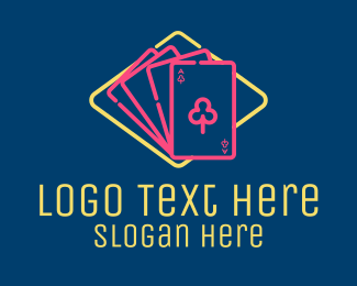 Playing Cards - Neon Gambling Cards  logo design