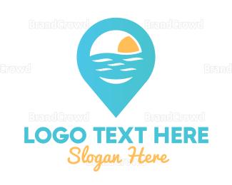 Resort - Cyan Beach Pin logo design