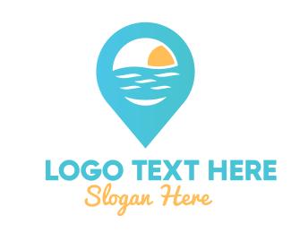 Cyan Beach Pin Logo Maker