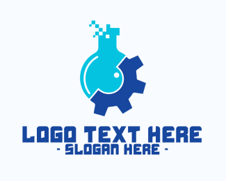 Flask - Pixel Flask Gear logo design