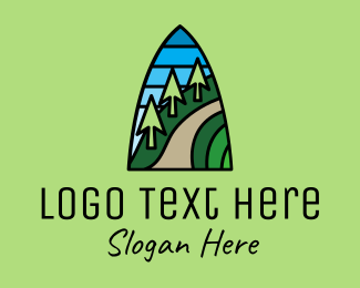 Stained - Mountain Path Mosaic  logo design