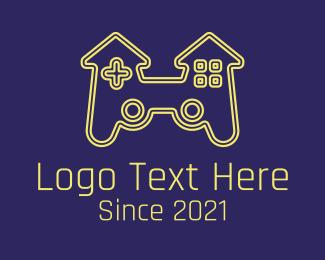 Controller Pad - Castle Joystick Gamer logo design