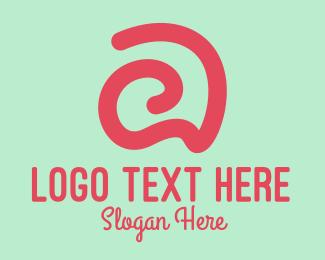 Kids Fashion - Curvy Pink Letter A logo design