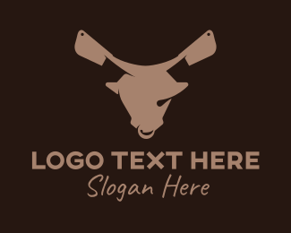 Cattle Farm - Butcher Ox Knife  logo design
