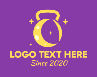 Night Time - Yellow Moon Kettlebell logo design