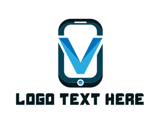 App Developer - Phone Letter V logo design