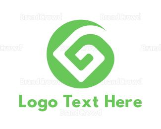Whirl - Green G Pattern logo design