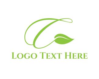 Twig - Leaf Letter A logo design