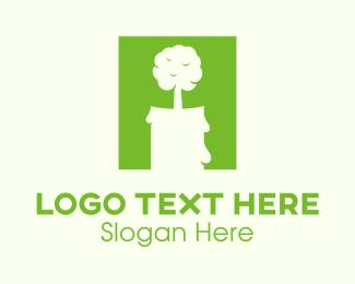 Melting - Green Tree Candle logo design