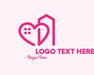 Building - Pink Love Building  logo design