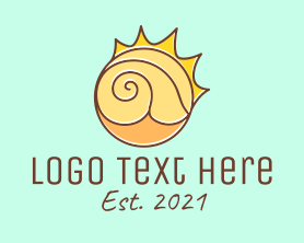 Shell - Sun Beach Sea Shell logo design