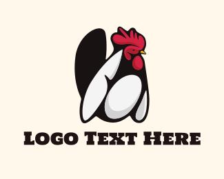 Farm Animal - White Rooster logo design