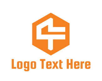 Orange Hexagon - Hexagon Abstract Number 4 logo design