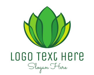 Leisure - Green Yellow Leaf Lotus logo design