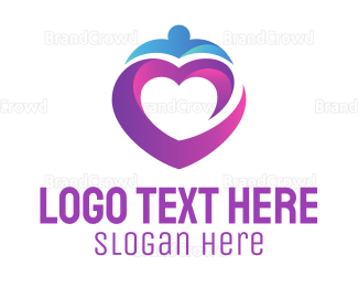 Blue And Purple - Purple Heart logo design