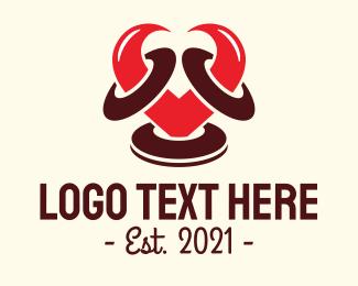 Wedding Ring - Ram Heart Horns logo design