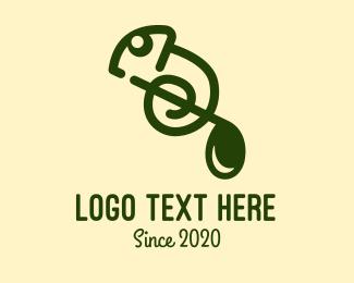 Slow - Musical Note Chameleon  logo design