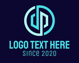 Pd - Blue D & P circle logo design