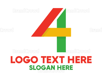 Fbi - Colorful Geometric Number 4 logo design