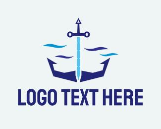 Sea - Sword Sea Anchor logo design