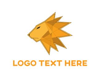 Africa - Lion Triangle Mane logo design