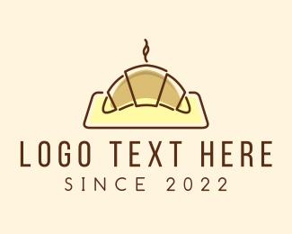 Bakery - Minimalist Hot Croissant logo design