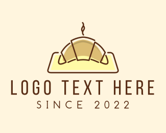 Minimalist Hot Croissant Logo Maker