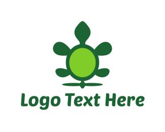 Green Turtle - Green Flying Turtle logo design