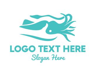Tentacles - Blue Squid  logo design