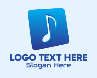 Music Streaming - Blue Gradient Musical Note logo design