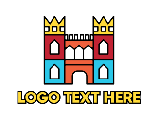 Chapel - Colorful Polygon Castle logo design