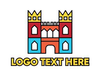 Castle - Colorful Polygon Castle logo design
