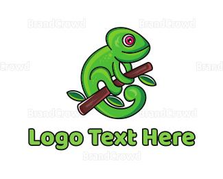 Camouflage - Green Climbing Chameleon logo design