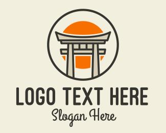 Torii - Japanese Torii Gate Sun logo design