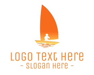 Lake - Sailing Sunset logo design