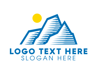 Iceberg - Blue Mountain Outline logo design