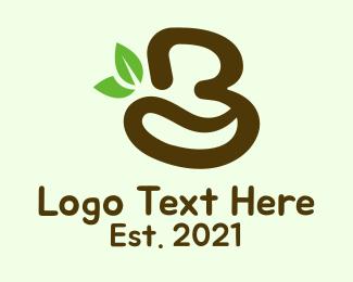 Leaf - Organic Coffee Letter B logo design