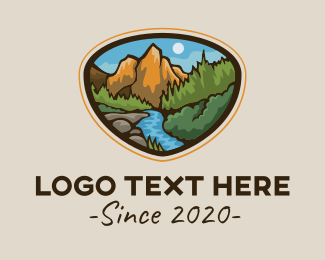 Geologist - Mountain River Scenery logo design