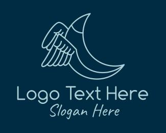 Night Sky - Blue Crescent Wings logo design