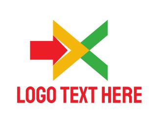 Forward - Geometric X Arrow logo design