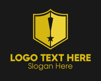 Exclamation Point - Shield Exclamation Star logo design