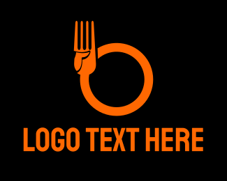 Fork - Food Fork Hand Circle logo design