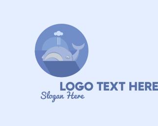 Ocean Park - Swimming Blue Whale logo design